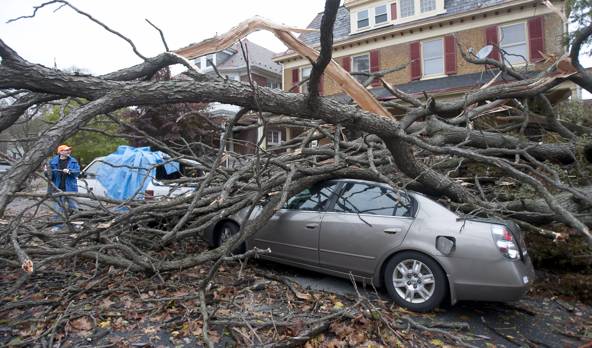 Sandy damage on College Hill in Easton